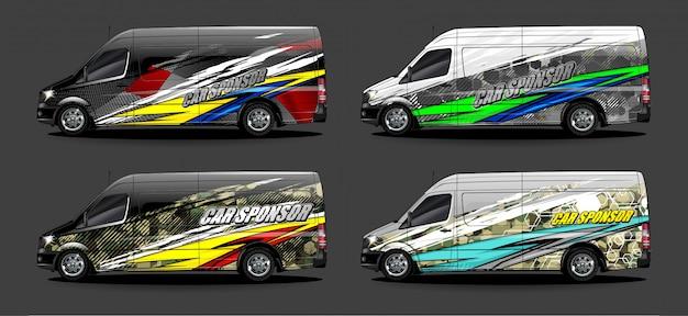 Wektor Zestaw Graficzny Pojazdu. Nowoczesne Abstrakcyjne Tło Dla Brandingu Okładów Samochodowych I Barwienia Naklejek Samochodowych Premium Wektorów