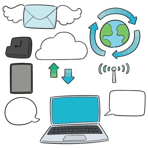 Wektor Zestaw Ikon Internetu Premium Wektorów