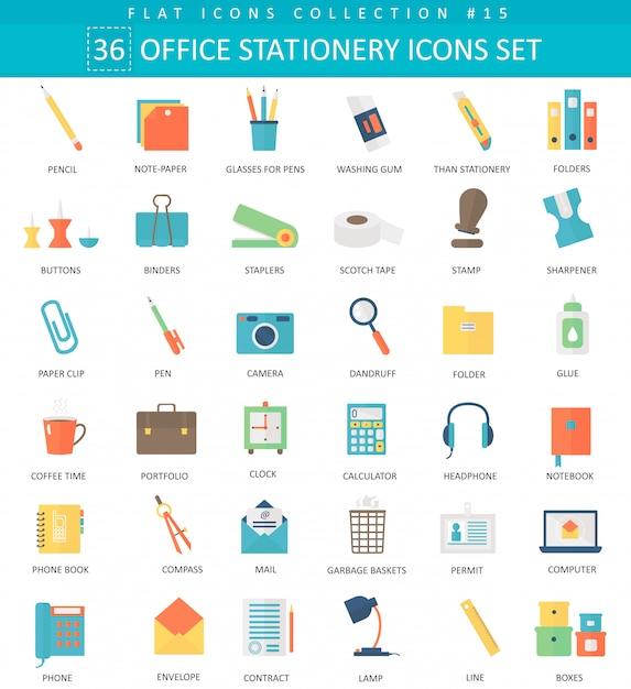 Wektor zestaw ikon płaski kolor biurowych materiałów. elegancki styl. Premium Wektorów