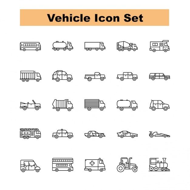 Wektor zestaw ikon pojazdu Premium Wektorów