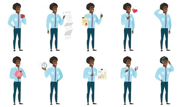 Wektor zestaw ilustracji z ludzi biznesu. Premium Wektorów