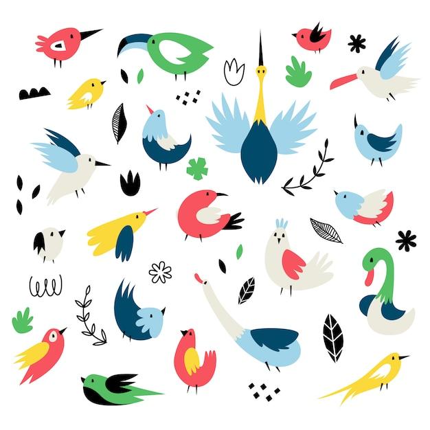 Wektor zestaw izolatów z cute ptaków w stylu skandynawskim Premium Wektorów