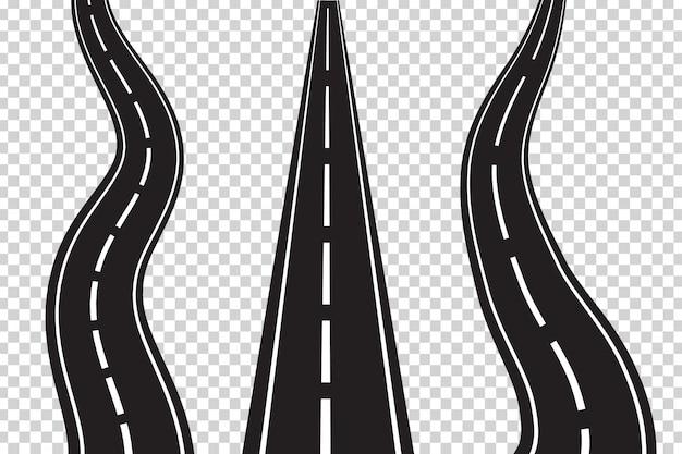 Wektor Zestaw Izolowanych Dróg Asfaltowych Na Przezroczystej Przestrzeni. Koncepcja Logistyki, Podróży, Dostawy I Transportu. Premium Wektorów
