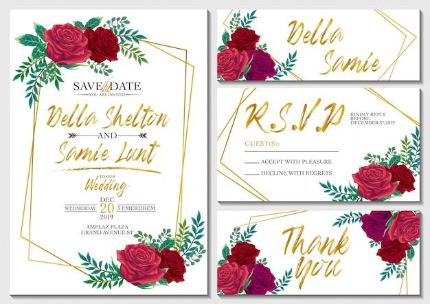 Wektor zestaw karta zaproszenie na ślub z róż i złota szablon tło Premium Wektorów