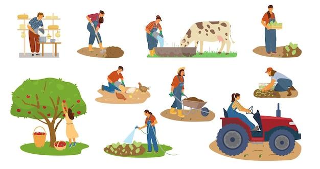 Wektor Zestaw Kobiet Rolników Pracujących. Zbiór, Kopanie, Pojenie, Karmienie Bydła, Robienie Sera, Prowadzenie Ciągnika. Premium Wektorów