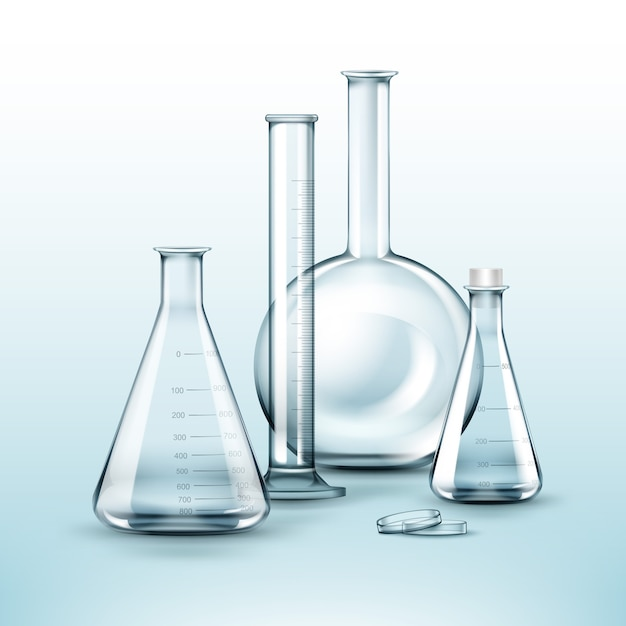 Wektor Zestaw Kolb Laboratorium Chemiczne Przezroczyste Szkło, Probówka Na Białym Tle Darmowych Wektorów