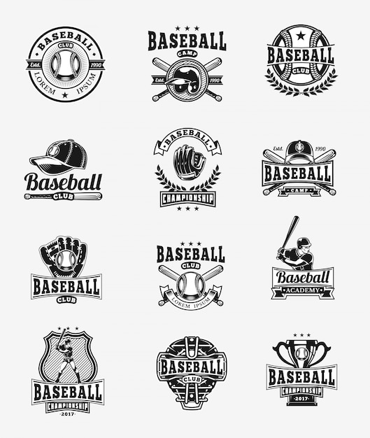 Wektor zestaw kolorowe odznaki baseballowe, naklejki, emblematy Darmowych Wektorów