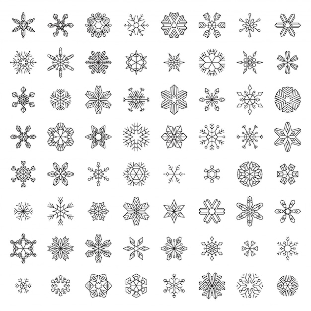 Wektor Zestaw Liniowych Płatków śniegu Premium Wektorów