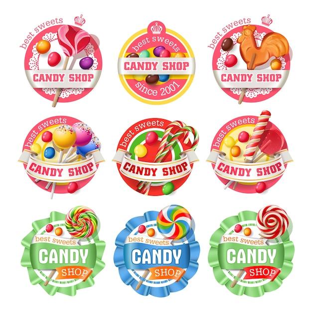 Wektor zestaw logoty lollipop, naklejek Darmowych Wektorów
