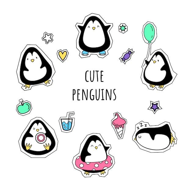 Wektor zestaw naklejek. pingwiny. styl kreskówki, Premium Wektorów