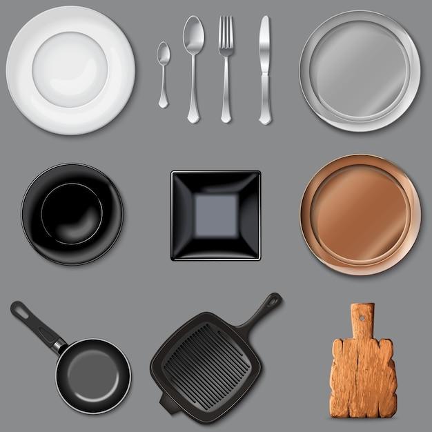 Wektor zestaw narzędzi kuchennych Premium Wektorów