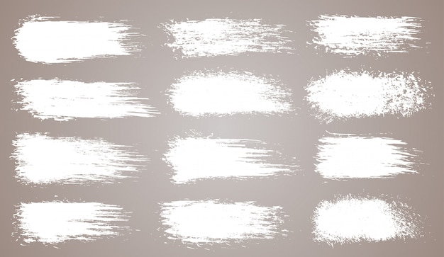 Wektor Zestaw Nieczysty Pociągnięcia Pędzlem Artystycznym, Pędzle. Kreatywne Elementy Projektu. Grunge Akwarela Szerokie Pociągnięcia Pędzlem. Biała Kolekcja Na Białym Tle Premium Wektorów
