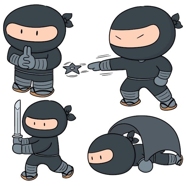 Wektor Zestaw Ninja Premium Wektorów