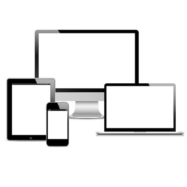Wektor zestaw nowoczesnych urządzeń cyfrowych Premium Wektorów