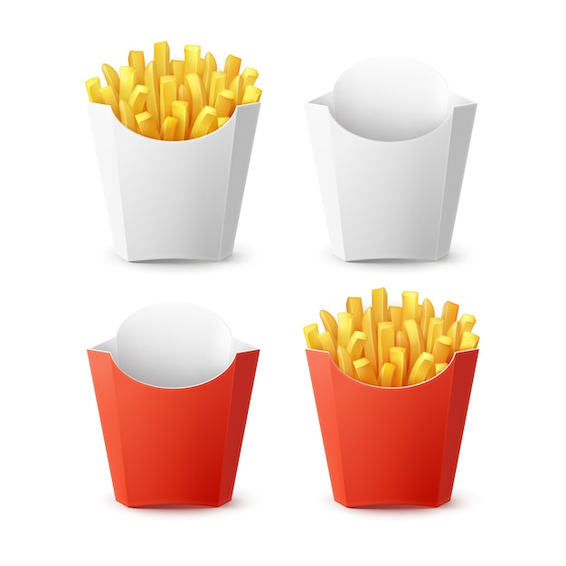 Wektor Zestaw Pakowanych Ziemniaków Frytki Z Czerwony Biały Pusty Pusty Karton Na Białym Tle Na Tle. Fast Food Darmowych Wektorów