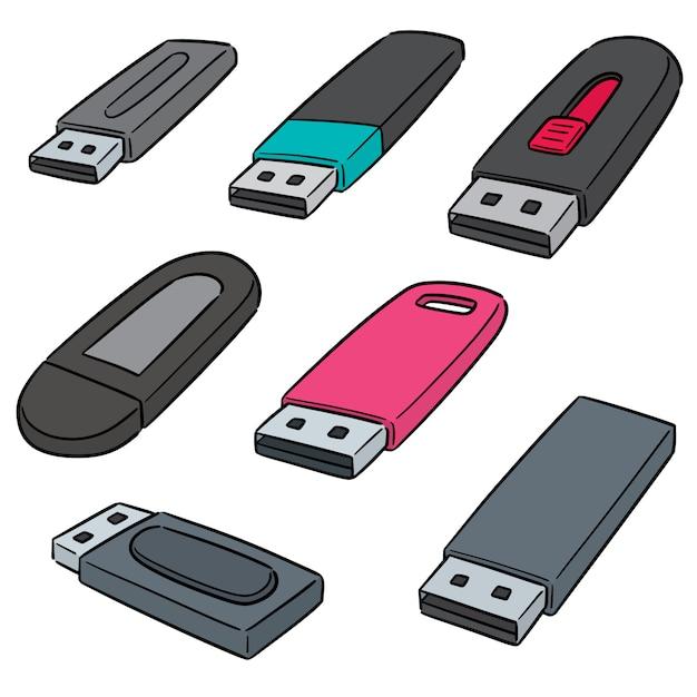 Wektor zestaw pamięci flash usb Premium Wektorów