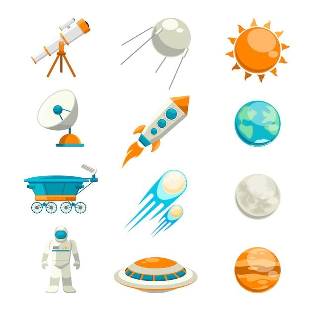 Wektor Zestaw Płaskich Przestrzeni. Satelita I Astronomia, Eksploracja Planet, Stacja Astrologiczna Darmowych Wektorów