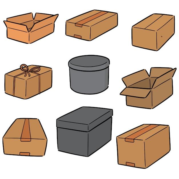 Wektor zestaw pudełek Premium Wektorów