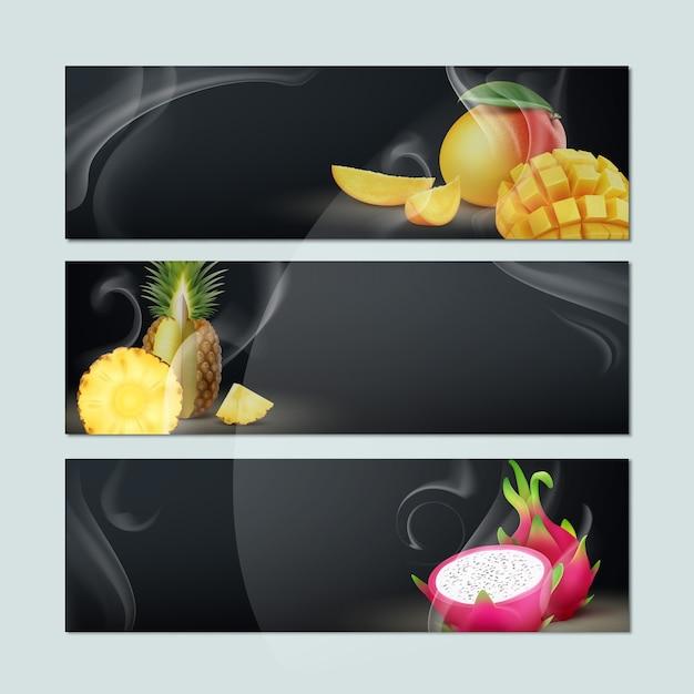 Wektor Zestaw Pustych Banerów Z Dymem, Mango, Ananasem, Owocem Smoka I Czarnym Tłem Dla Reklamy Tytoniu Fajki Darmowych Wektorów