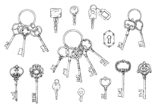 Wektor zestaw ręcznie rysowane zabytkowe klucze. ilustracja w stylu szkicu. stary projekt. Premium Wektorów