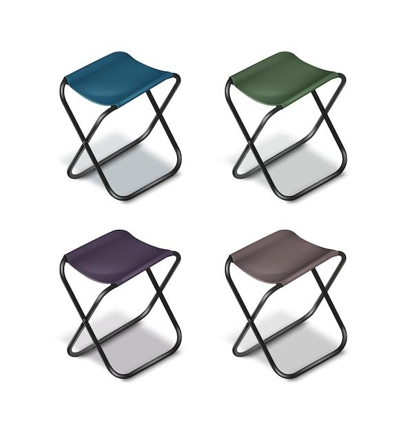 Wektor Zestaw Składanych Krzeseł Piknikowych Z Czarnymi Nogami I Siedzeniami Niebieski, Zielony, Szary, Fioletowy Na Białym Tle Darmowych Wektorów