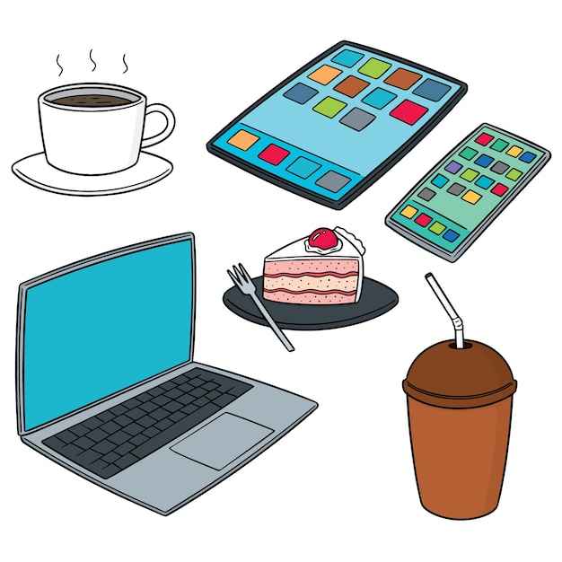 Wektor zestaw smartdevice kawy i ciast Premium Wektorów