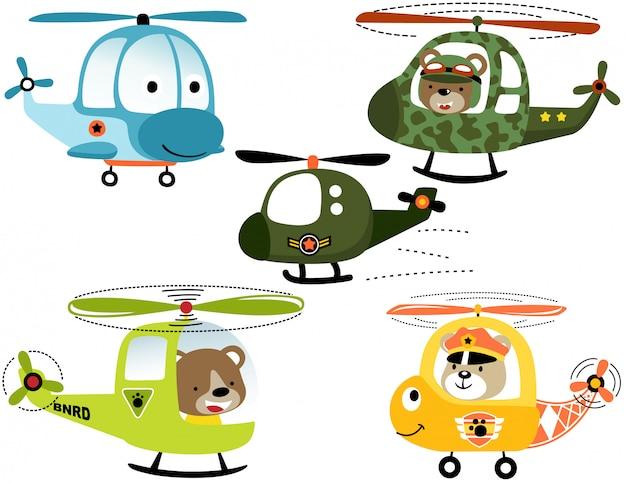 Wektor zestaw uśmiechnięta kreskówka helikopterów z pilotem zwierząt Premium Wektorów