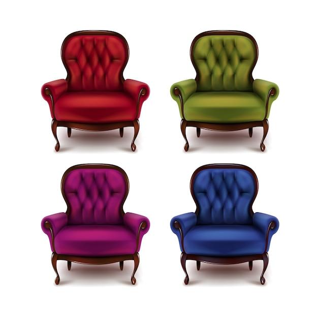 Wektor Zestaw Vintage Fotele Czerwony, Zielony, Fioletowy, Fioletowy, Niebieski Na Białym Tle Darmowych Wektorów