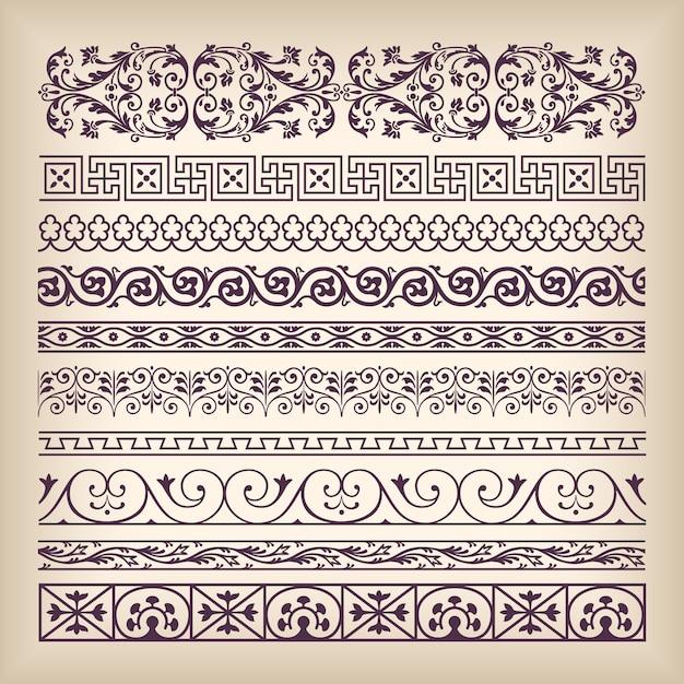 Wektor Zestaw Vintage Ozdobny Granicy Ramki Premium Wektorów