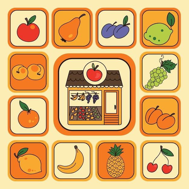 Wektor Zestaw Z Ikonami Owoców Premium Wektorów