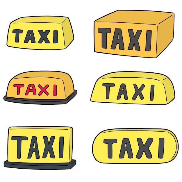 Wektor zestaw znak taxi Premium Wektorów