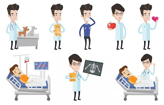 Wektor Zestaw Znaków Lekarza I Pacjentów. Premium Wektorów