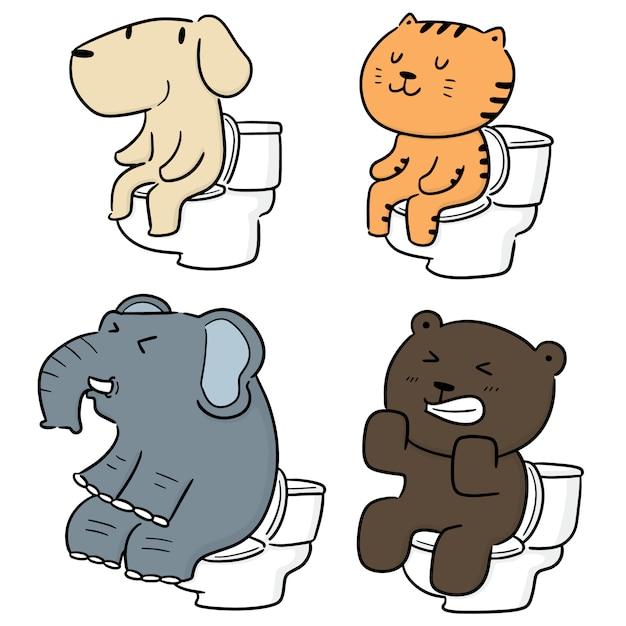 Wektor Zestaw Zwierząt Za Pomocą Spłukiwanej Toalety Premium Wektorów