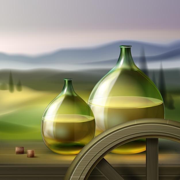 Wektor Zielony Okrągłe Butelki Białego Wina I Drewniane Koło Na Białym Tle Na Tle Z Doliny Darmowych Wektorów