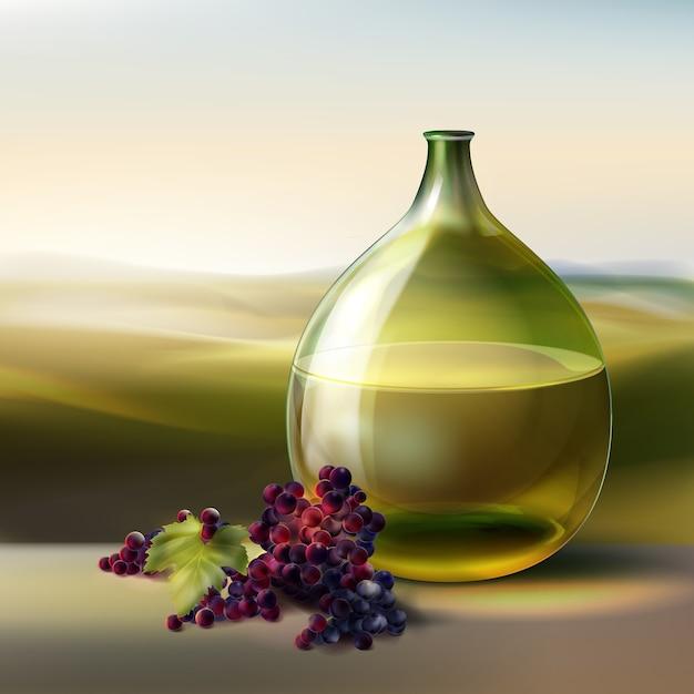 Wektor Zielony Okrągły Butelka Białego Wina I Czerwonych Winogron Na Białym Tle Na Tle Z Doliny Darmowych Wektorów