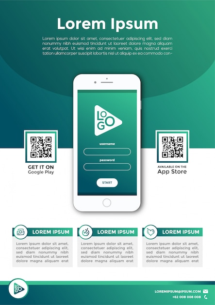 Wektor zielony ulotki promocyjne aplikacji mobilnych Premium Wektorów