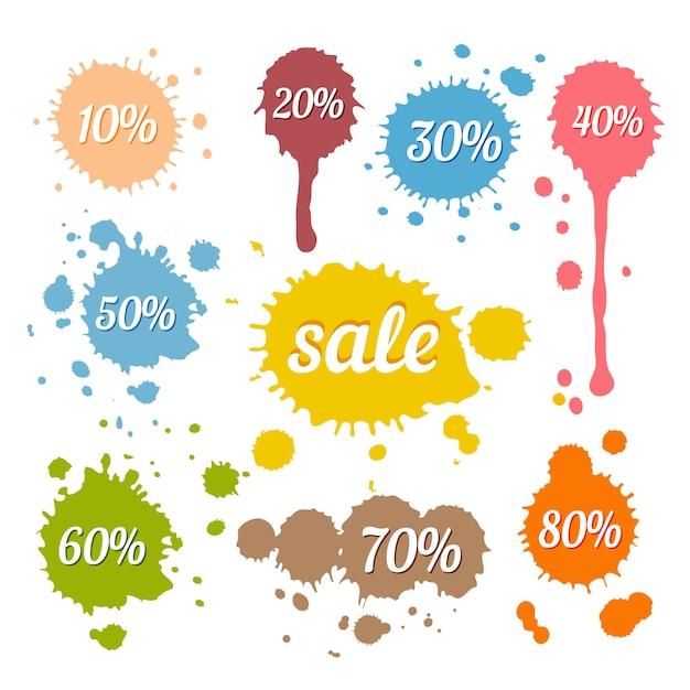 Wektor Zniżki I Etykiety Sprzedaży Na Plamy I Odpryski W Stylu Retro Darmowych Wektorów