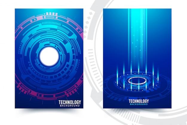 Wektorowa Abstrakcjonistyczna Futurystyczna Obwód Deska, Ilustracyjny Wysoki Informatyka Zmrok - Błękitny Koloru Tło Premium Wektorów
