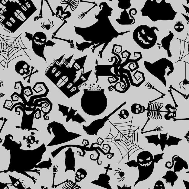 Wektorowa bezszwowa deseniowa tekstura z tradycyjnymi halloween wakacyjnymi ikonami Premium Wektorów