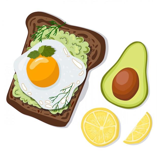Wektorowa grzanka z avocado i jajkiem Premium Wektorów