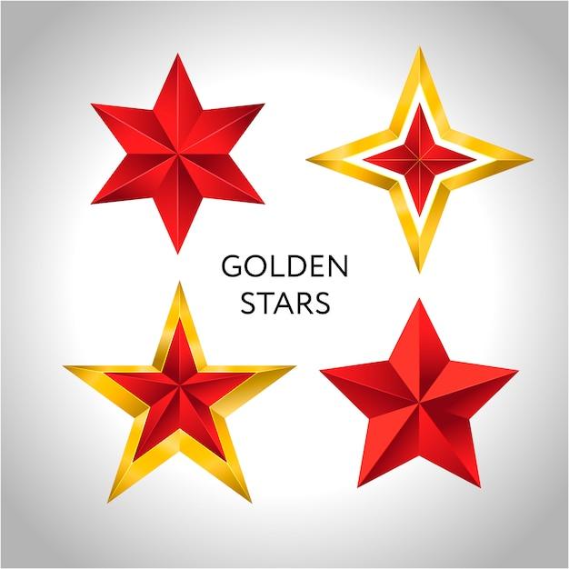 Wektorowa ilustracja 4 złota gwiazd bożych narodzeń nowego roku wakacje 3d Premium Wektorów