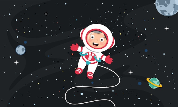 Wektorowa ilustracja astronautyczny tło Premium Wektorów