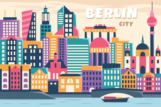 Wektorowa Ilustracja Berlin Miasto Premium Wektorów