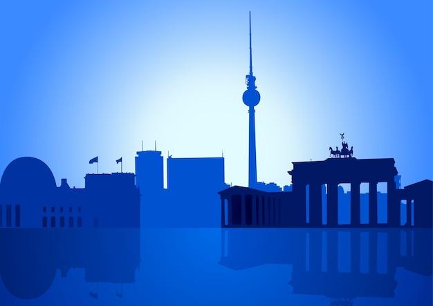 Wektorowa ilustracja berlińska linia horyzontu Premium Wektorów