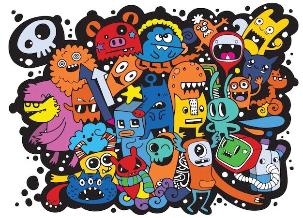 Wektorowa ilustracja doodle śliczny potwora tło, ręka remis Premium Wektorów