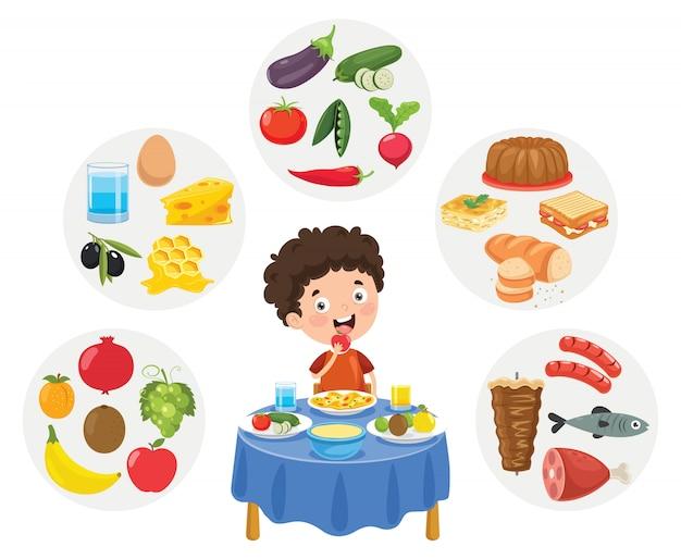 Wektorowa ilustracja dzieci jedzenia pojęcie Premium Wektorów