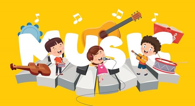Wektorowa Ilustracja Dzieci Muzyki Tło Premium Wektorów