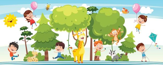 Wektorowa ilustracja dzieci natury pojęcie Premium Wektorów