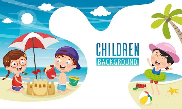 Wektorowa Ilustracja Dzieci Tło Premium Wektorów