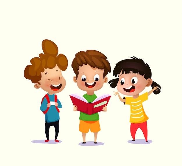 Wektorowa ilustracja dzieciaki czyta otwartą książkę Premium Wektorów